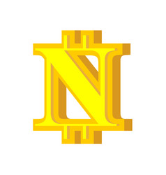 n letter bitcoin font cryptocurrency alphabet vector image