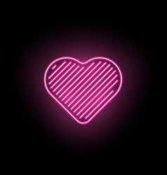 Neon heart silhouette of pink heart vector