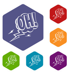 oh speech bubble icons set hexagon vector image