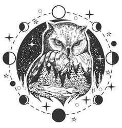 Owl tattoo or t-shirt print design vector