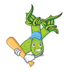 Playing baseball wasabi character cartoon style vector