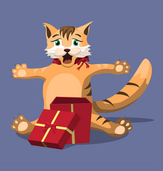 red cute homemade cat opened a red gift box joy vector image