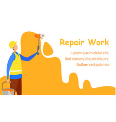 renovation service flat banner template vector image