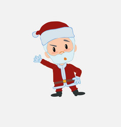 Santa claus something angry shows something to vector