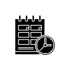 schedule black icon sign on isolated vector image
