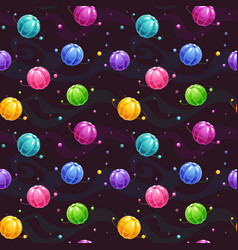 seamless pattern with cute colorful jelly planets vector image