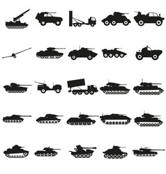 Set army transport black silhouette icons vector