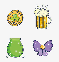 set clover coin with beer glass and cauldron vector image
