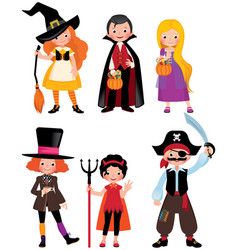 Set fabulous halloween characters vector