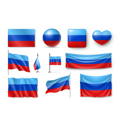 set luhansk people republic flags banners vector image vector image