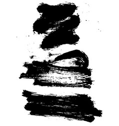 Set of black ink grunge brush stroke vector