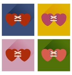 Set of flat icons with long shadow hearts vector