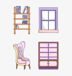 Set of study room elements vector