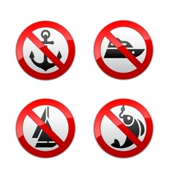 Set prohibited signs - fishing vector