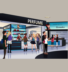 Shoppers shopping for cosmetic in a department vector
