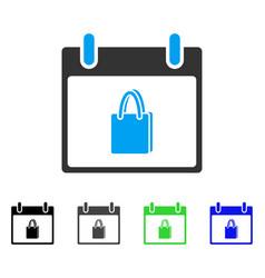 Shopping bag calendar day flat icon vector