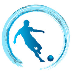 silhouette of soccer player striking the ball vector image