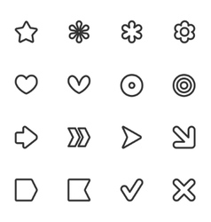 Simple common contour style icon set vector image
