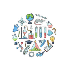 sketched science or chemistry elements in vector image