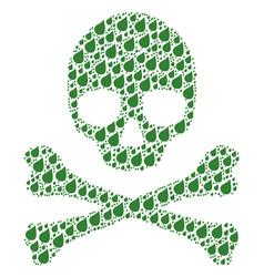 Skull mosaic of plant leaf items vector