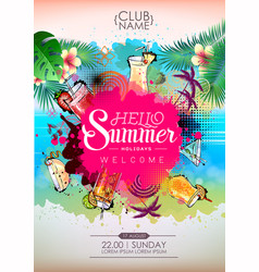 Summer cocktail party poster design cocktail menu vector