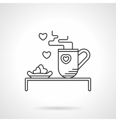 Tea for beloved flat line icon vector image