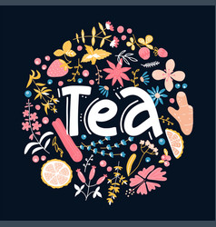 tea hand drawn floral pattern linear calligraphy vector image
