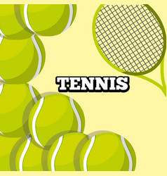 tennis racket and balls sport background design vector image