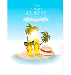 Tropical seaside with palms a beach chair and a vector image