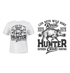 Tshirt print with boar mascot for hunting club vector
