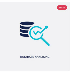 two color database analysing icon from business vector image