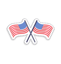 Two crossed flags of united states patch patriotic vector