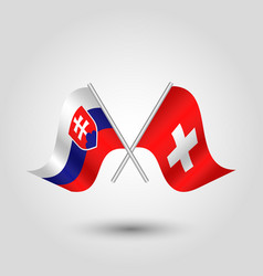 Two crossed slovak and swiss flags vector