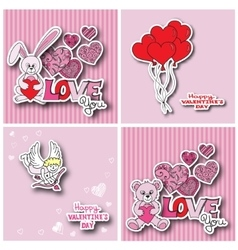 Valentines day cards collection vector