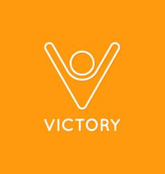 victory logo man with hands up letter v vector image