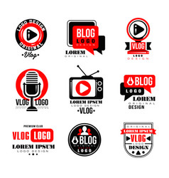 Vlog and blog logo design set video blogging vector