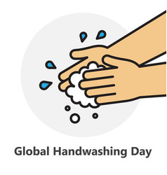 Washing hands icon with water drops vector