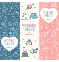 Wedding Banner Flyer Vertical Set vector image