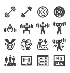 Weight lifting icon set vector