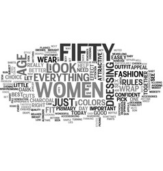 Women over fifty text word cloud concept vector