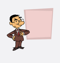 Worried asian businessman is showing as in a vector