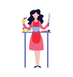 Young woman cooking delicious meal for her food vector