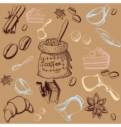 Coffe Set Background vector image vector image