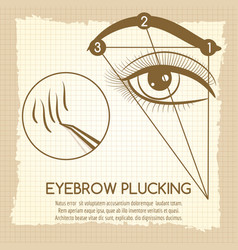eyebrow plucking vintage style concept vector image vector image