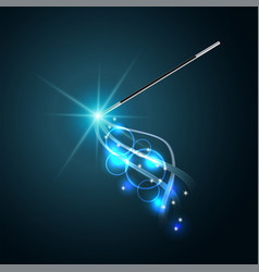 magic wand with magical blue sparkle trail vector image