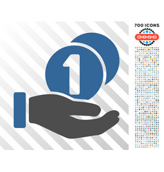 coins payment hand flat icon with bonus vector image