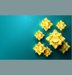 gold abstract flowers asian pattern background vector image vector image