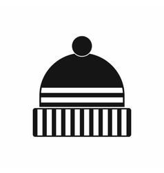 Knitted cap icon black simple style vector image
