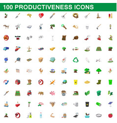 100 productiveness icons set cartoon style vector image vector image