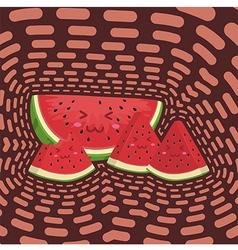 Cute Watermelon Fruit Slice Mascot in Dark Backgro vector image vector image